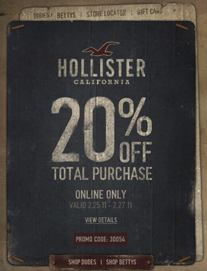 Hollister outlet uk coupon code