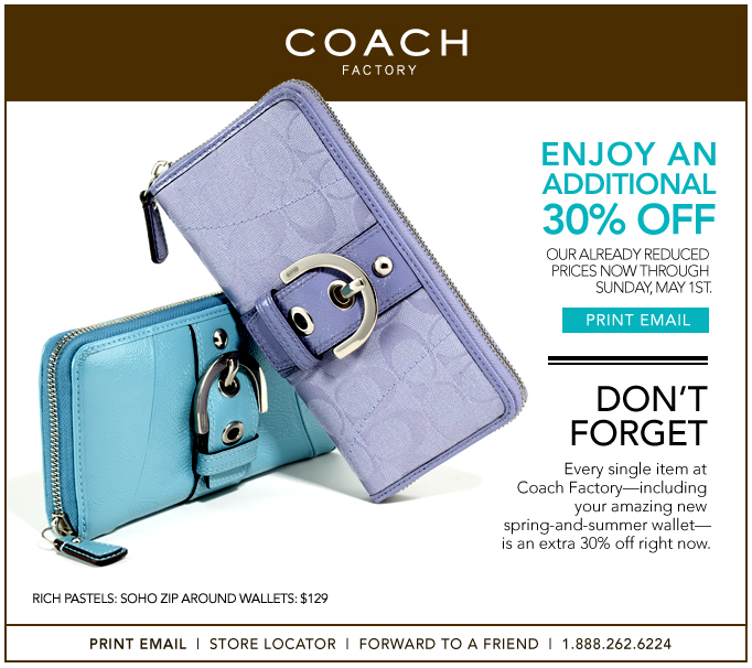 30 percent off coach factory outlet