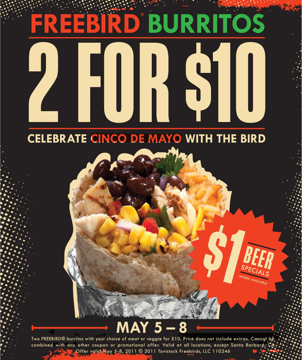 freebird burrito 2 for 10