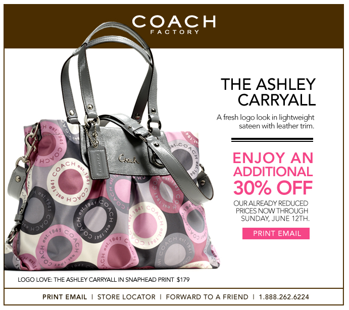 Additional 30% off Coach Factory Outlet