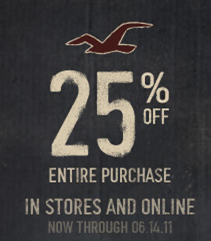 25% off Hollister Co