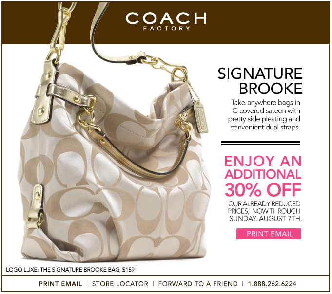 30% off Coach Factory Outlet