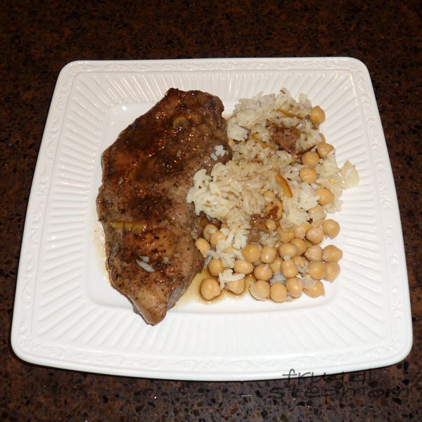 Orange Glazed Pork Chops + Rice and Chickpeas