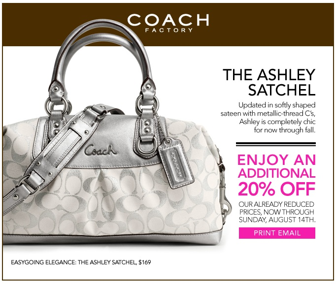 20% Off Coach Factory Outlet