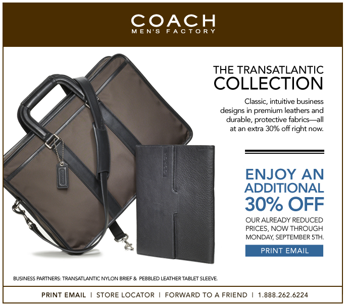 coupon for coach outlet ja1i  Wow, Coach Men's Factory Outlet just released a rare additional 30% off  anything in store coupon Are you shopping for Christmas yet?