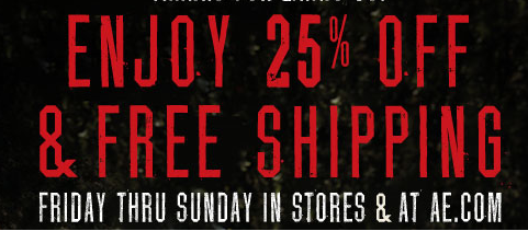 American Eagle/Aerie 25% + FREE Shipping