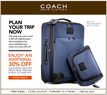 Coach Men's 30% Off