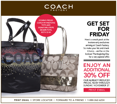 Coach Factory 30% Off