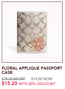 Coach Applique Passport Case